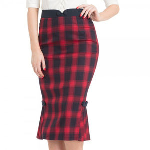 Dresses & Skirts - New Voodoo Red Navy Plaid Wiggle Pencil Skirt XL
